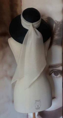 Cream silk organza sewn around hat for Ladies Day at Ascot.