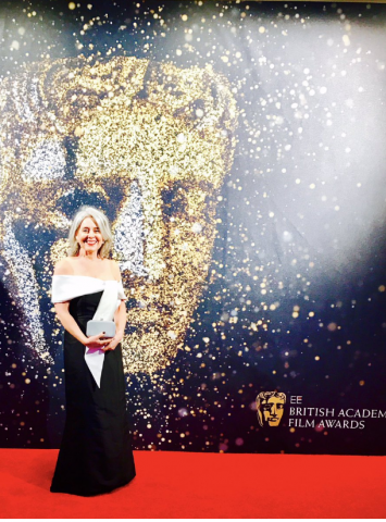 'White silk satin shawl made to go over black silk Ball Gown for 'The BAFTA Awards' (2017)